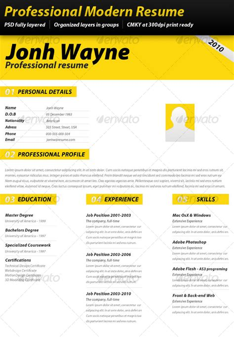 14914 modern business resume professional modern resume by drawvisuals graphicriver
