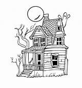 Coloring Haunted Pages Printable Simple Halloween Print Scribblefun sketch template