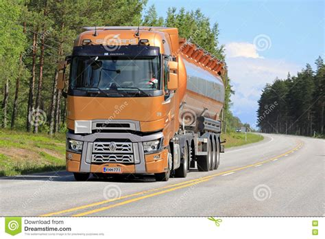 renault truck new renault trucks t semi tanker on the road editorial
