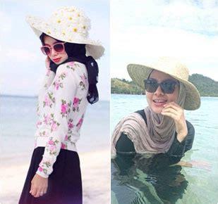 gaya hijabers  liburan  pantai dian pelangi   selebgram