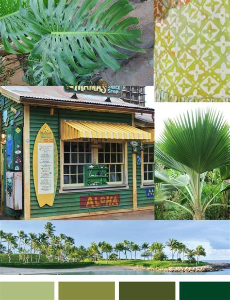 a verdant green palette inspired by the tropics colors