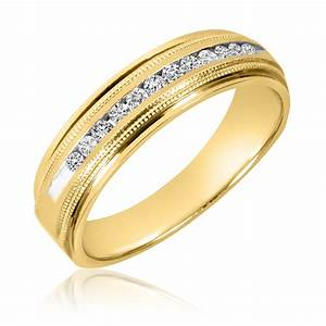 1 4 ct tw diamond men39s wedding band 14k yellow gold With men wedding rings with diamonds