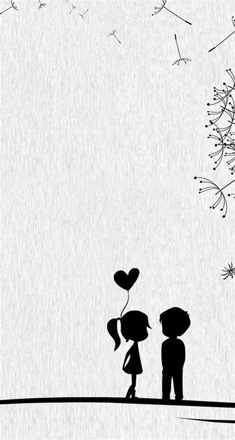 Love Cute Cartoon Little Couple Iphone Se Wallpaper