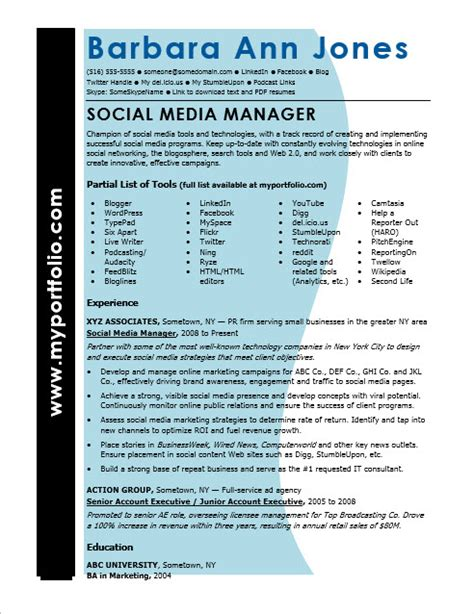 Resume Advice From Hiring Managers by Social Media Resume Sle