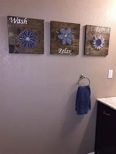 DIY Bathroom Wall Art - String Art to Add a Pop of Color