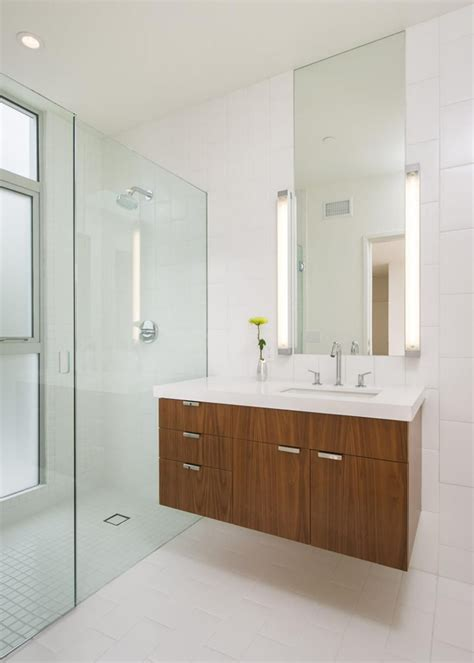 floating vanity small bathroom continues trend zebra wood white