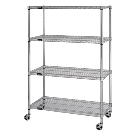 Wire Shelving quantum mobile wire shelving unit 4 shelves 36in w x