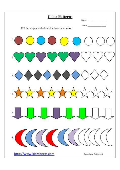 100 worksheets for preschool patterns shapes