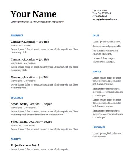Resume Templae by Our 5 Favorite Docs Resume Templates