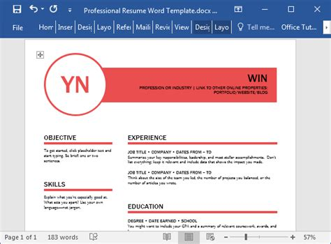 polished resume template  word