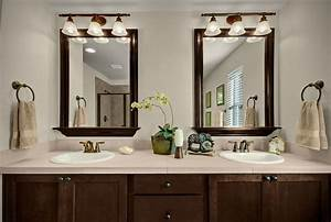 Rubbed Bronze Light Fixtures Toll Brothers Dual Vanities Framed Mirrors And Oil