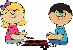Kids Playing Checkers Clip Art - Kids Playing Checkers Image