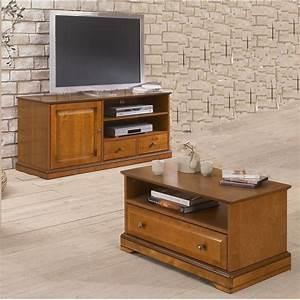 ensemble meuble tv et table basse plaques merisier beaux With ensemble meuble tv et table basse