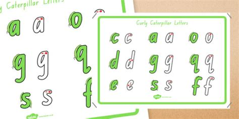 curly caterpillar letters formation display poster