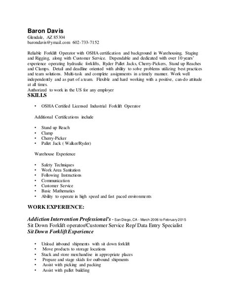 Forklift Resumes Sle by 28 Certified Forklift Operator Resume Mechanic Resume