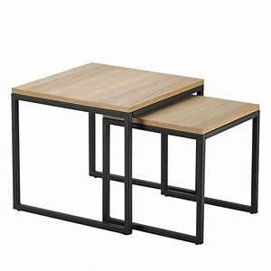 Tables Gigognes Ikea : lot 2 tables basses gigognes bois m tal temmelig drawer ~ Teatrodelosmanantiales.com Idées de Décoration