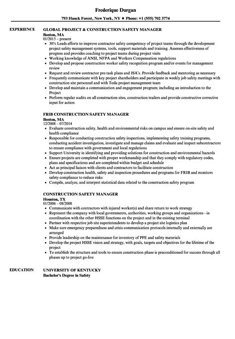 Safety Manager Resume by Construction Safety Manager Resume Sles Velvet