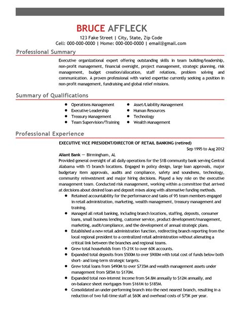 Non Profit Resume Keywords by Executive Resume For L Thomas Page 1 My