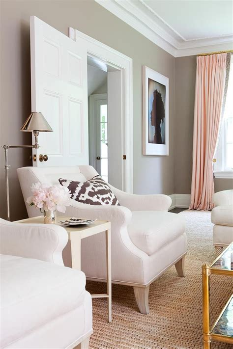 pink gold gray living room  white linen sofa pink