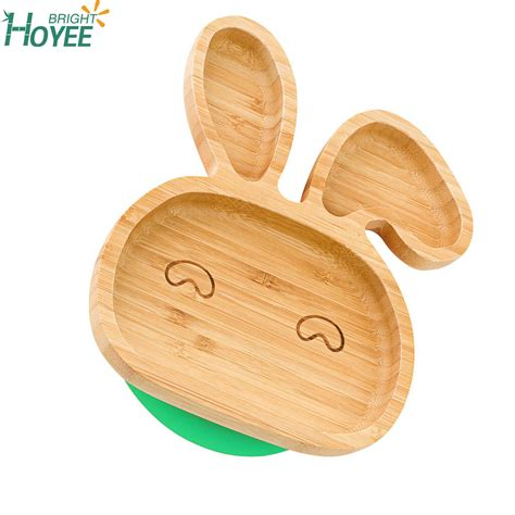 cheap price bamboo baby plate  silicone rabbit shape hoyeebright buy bamboo baby plate