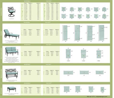 ballard outdoor cushion size chart upholstery ideas