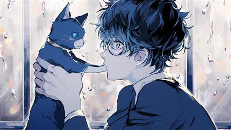 Anime Boy Wallpaper 1920x1080 - 1920x1080 persona 5 kurusu anime boy cat