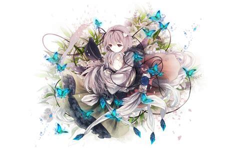 Anime Girl Anime Girl With Blue Butterflies Wallpaper