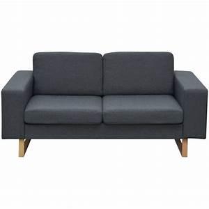 Acheter vidaxl canape avec 2 places tissu gris fonce pas for Tapis yoga avec canape tissu 3 2 places
