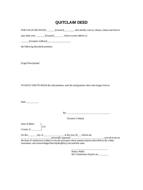 quit claim deed form   templates   word