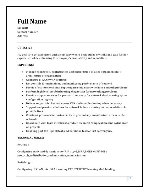 Ccnp Resume For Freshers by Resume Template Rst Forum