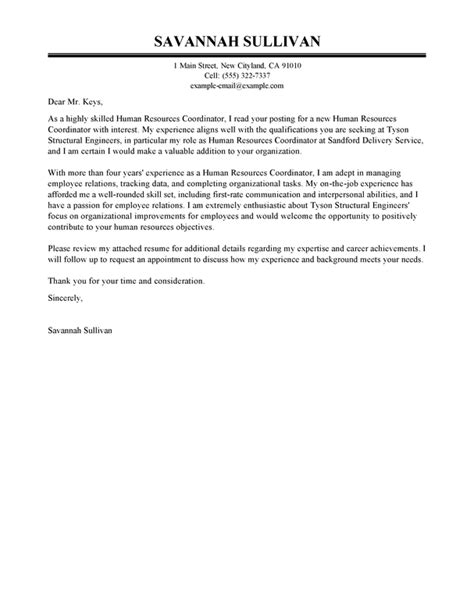 human resources cover letter best hr coordinator cover letter examples livecareer 22502 | human resources hr coordinator executive 1 607x785