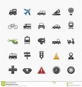 Transport And Traffic Symbol Icon Set Stock Image Image
