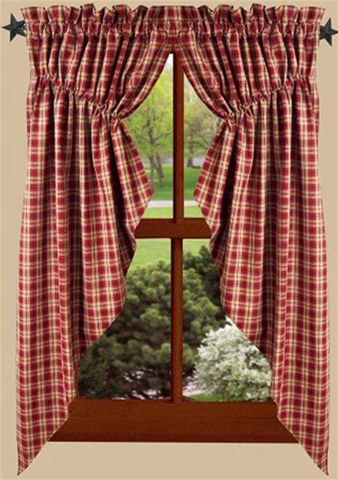 providence plaid barn red gathered window curtain swag