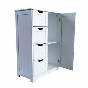 Armoire Salle De Bain Bois : foxhunter en bois blanc 4 tiroir rangement de salle bain armoire placard debout ebay ~ Teatrodelosmanantiales.com Idées de Décoration