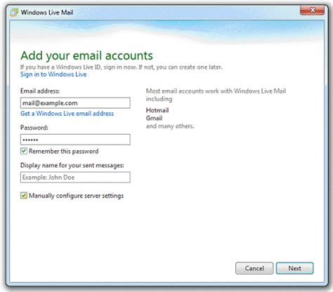 access from windows live mail
