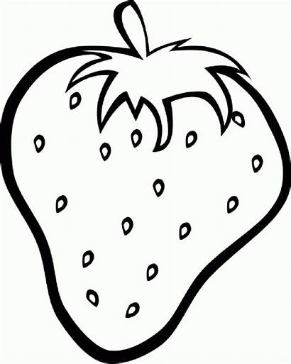 Coloring Strawberry Fruit Pages Clipart Drawing Outline