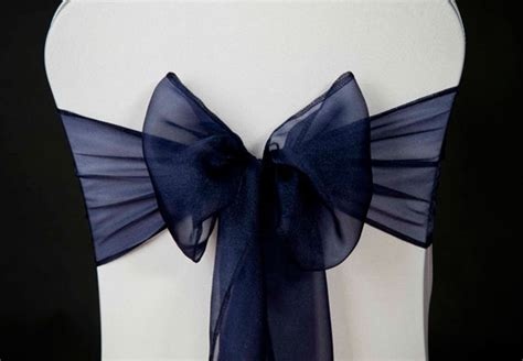 wedding chair cover navy blue organza