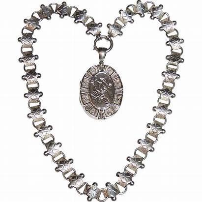 Victorian Chain Locket Collar Boat Silver Engraved