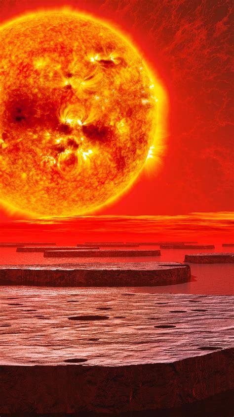 wallpaper sun burning planet  space
