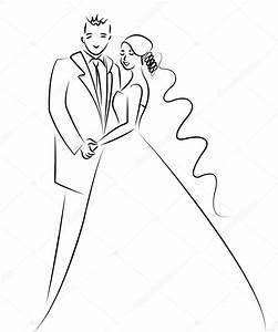 Dessin Couple Mariage Noir Et Blanc : pareja de reci n casados de dibujos animados vector ~ Melissatoandfro.com Idées de Décoration