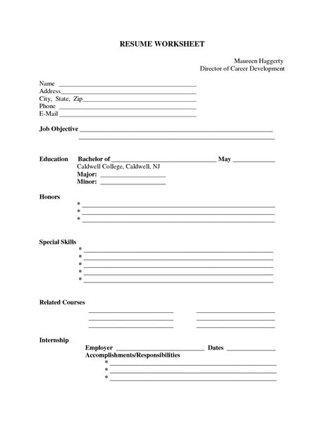 Resume Template Qut by Free Printable Fill In The Blank Resume Templates