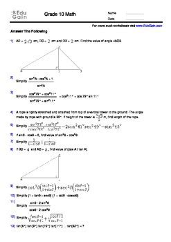 grade 10 trigonometry workbook 100 problems with