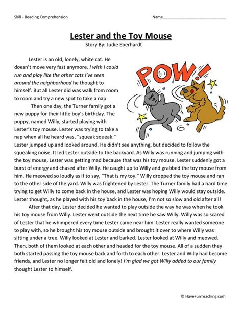 Reading Comprehension Worksheet  Lester And The Toy Mouse
