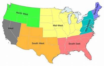 States United Regions Map Usa Geography Region