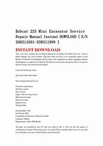 Bobcat 225 Mini Excavator Service Repair Manual Instant