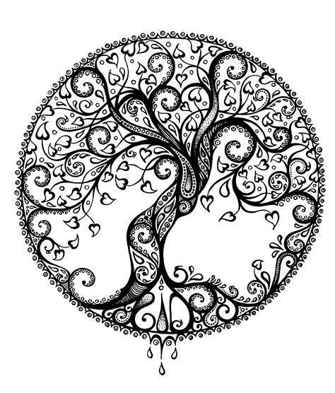 arbre avec coeurs  colorier pinterest