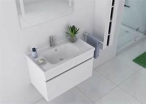 Meuble Avec Vasque : meuble de salle de bain blanc mdf et pvc meuble de salle de bain blanc dis800ab ~ Teatrodelosmanantiales.com Idées de Décoration