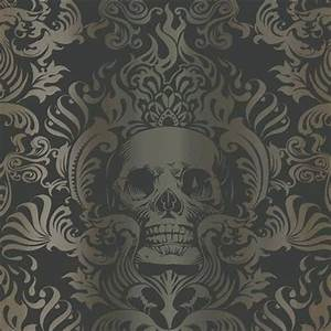 Gothic Wallpaper For Walls Silver Gold And Black Skull