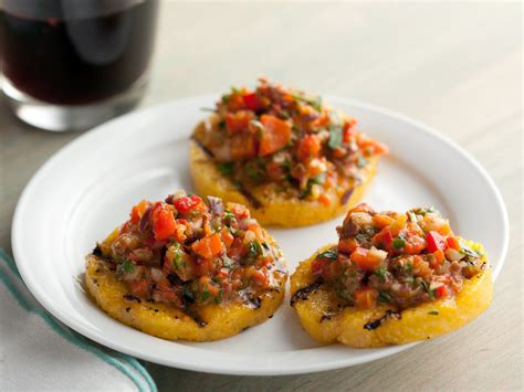 cuisine polenta grilled polenta crackers with roasted pepper salsa recipe