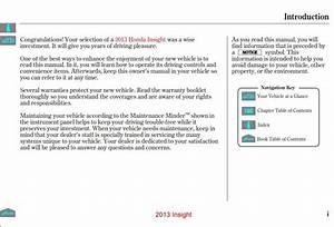 Honda Insight 2013 Owner U0026 39 S Manual